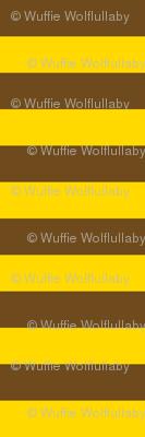 Horizontal Stripes - 1 inch wide - Yellow (#FFD900) & Brown (#6e4a1c)