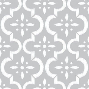 Light Gray Ikat Moroccan Flower