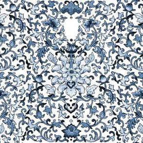 Lacquer Damask  ~ Blue and White