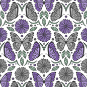 Butterfly Fields Damask (Purple)
