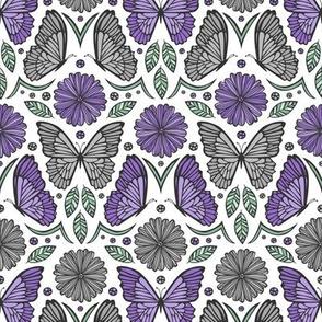 Butterfly Fields Damask (Purple)