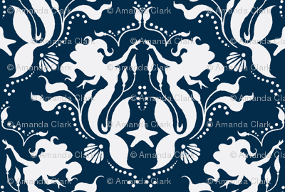 Mermaid Damask - navy/white