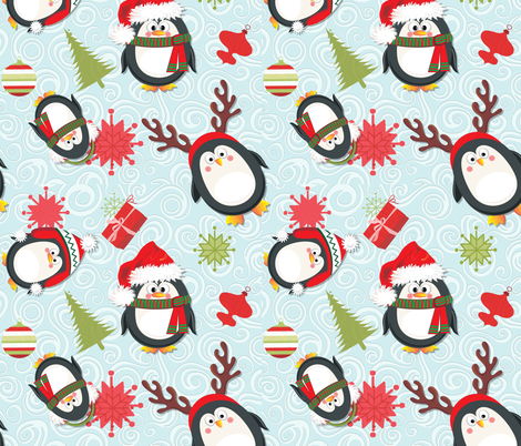 Holiday Penguins Christmas fabric by spicetree on Spoonflower - custom fabric
