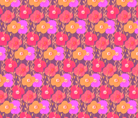 Bright Fall Poppies fabric by pixabo on Spoonflower - custom fabric