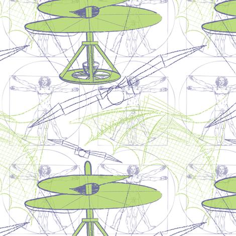 daVinci Fliers (white) fabric by jjtrends on Spoonflower - custom fabric
