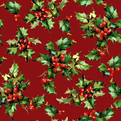 Kristtorn on red fabric by lilyoake on Spoonflower - custom fabric