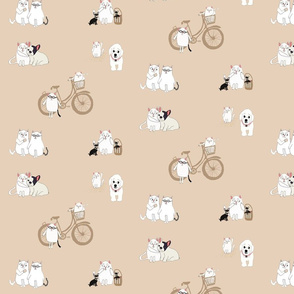 French Cats and Dogs bicycle picnic