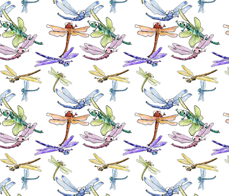 Happy Dragonflies fabric by lillyarts on Spoonflower - custom fabric