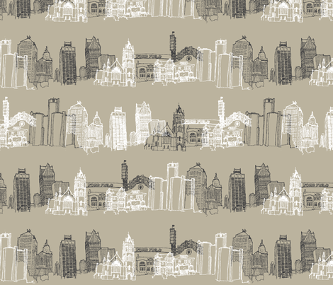 Detroit Landmarks I fabric by scarletcrane on Spoonflower - custom fabric