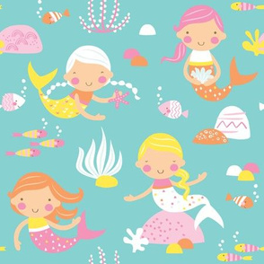 Mermaids  - Mint // by petite_circus // pink yellow white Turquoise // cute kids baby nursery //