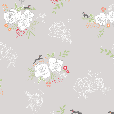 Whippets and Roses fabric by rebecca_stoner on Spoonflower - custom fabric