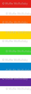 Stripes - Horizontal - 1 inch (2.54cm) - Rainbow & White