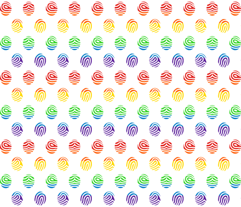 Rainbow Fingerprints on White fabric by elsielevelsup on Spoonflower - custom fabric