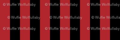 Stripes - Vertical - 1 inch (2.54cm) - Dark Red (#B1252C) & Black