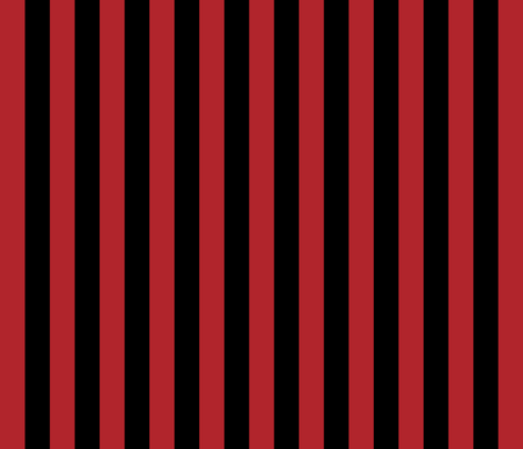 Stripes - Vertical - 1 inch (2.54cm) - Dark Red (#B1252C) & Black fabric by elsielevelsup on Spoonflower - custom fabric
