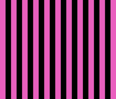 Stripes - Vertical - 1 inch (2.54cm) - Light Pink (#E95FBE) & Black (#000000) fabric by elsielevelsup on Spoonflower - custom fabric