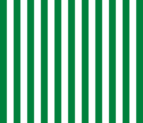 Stripes - Vertical - 1 inch (2.54cm) - Green (#00813C) & White (#FFFFFF) fabric by elsielevelsup on Spoonflower - custom fabric