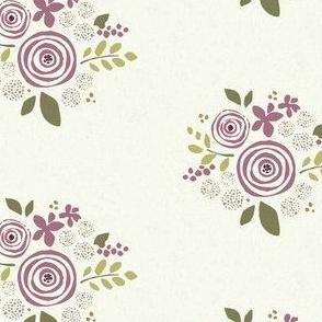 Cream Plum Floral