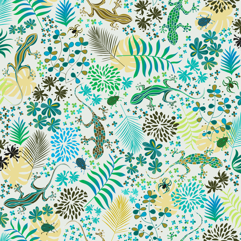 Ditsy Lizards fabric by jill_o_connor on Spoonflower - custom fabric