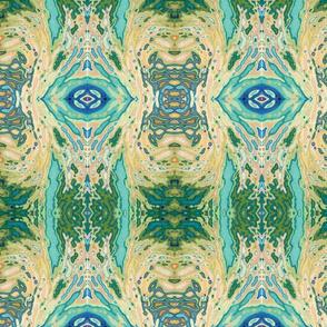 Retro Stripe in Yellow & Blue Wallpaper