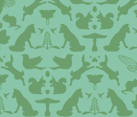 woodland damask larger scale fabric by doodleandhoob on Spoonflower - custom fabric
