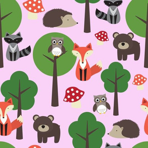 Woodland Animals on Baby Pink