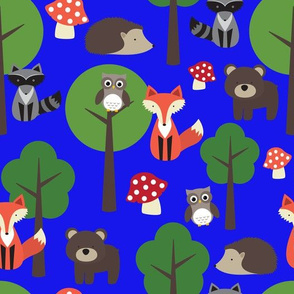 Woodland Animals on Blue