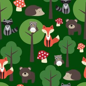 Woodland Animals on Dark Green