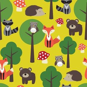 Woodland Animals on Dark Yellow