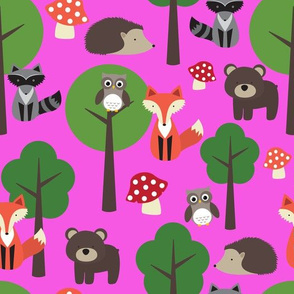 Woodland Animals on Hot Pink