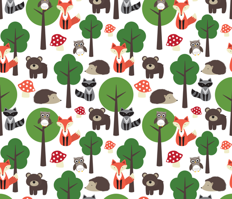 Woodland Animals on White fabric by lintc on Spoonflower - custom fabric