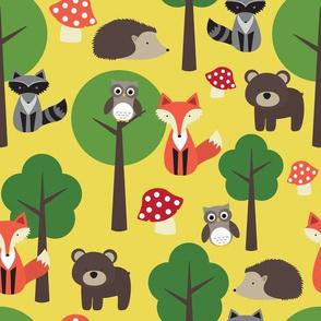 Woodland Animals on Yellow