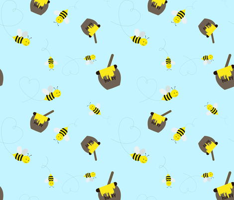 Honey Bees on Baby Blue fabric by lintc on Spoonflower - custom fabric