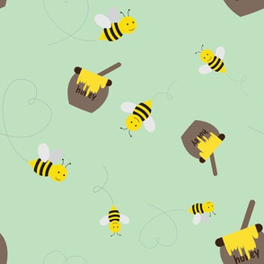 Honey Bees on Green