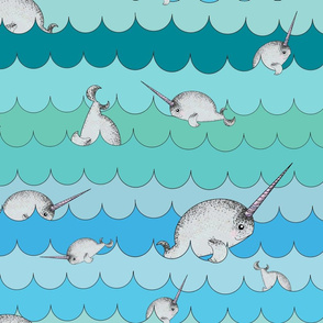 Narwhals Swimming