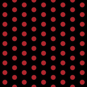 Polka Dots - 1 inch (2.54cm) - Dark Red (#b1252c) on Black (#000000)