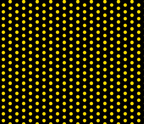 Polka Dots - 1 inch (2.54cm) - Yellow (#ffd900) on Black (#000000)  fabric by elsielevelsup on Spoonflower - custom fabric