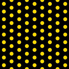 Polka Dots - 1 inch (2.54cm) - Yellow (#ffd900) on Black (#000000)