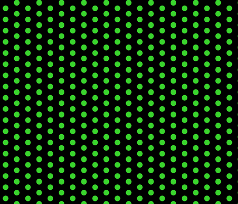 Polka Dots - 1 inch (2.54cm) - Light Green (#3ad42d) on Black (#000000)  fabric by elsielevelsup on Spoonflower - custom fabric
