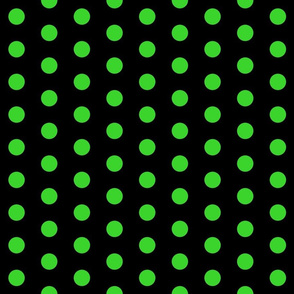 Polka Dots - 1 inch (2.54cm) - Light Green (#3ad42d) on Black (#000000)