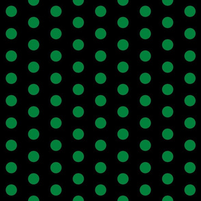 Polka Dots - 1 inch (2.54cm) - Dark Green (#00813C) on Black (#000000)