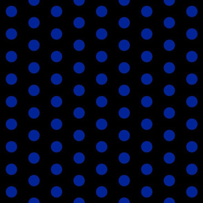 Polka Dots - 1 inch (2.54cm) - Dark Blue (#002398) on Black (#000000)