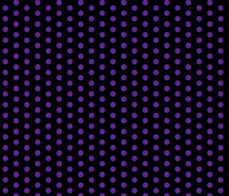 Polka Dots - 1 inch (2.54cm) - Dark Purple (#5E259B) on Black (#000000)  fabric by elsielevelsup on Spoonflower - custom fabric
