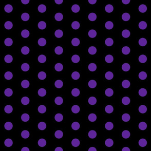 Polka Dots - 1 inch (2.54cm) - Dark Purple (#5E259B) on Black (#000000)