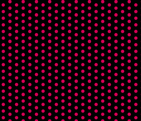 Polka Dots - 1 inch (2.54cm) - Pink  (#d30053) on Black (#000000)  fabric by elsielevelsup on Spoonflower - custom fabric