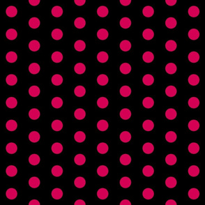 Polka Dots - 1 inch (2.54cm) - Pink  (#d30053) on Black (#000000)