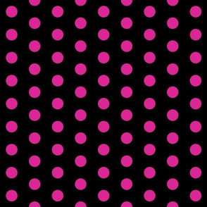 Polka Dots - 1 inch (2.54cm) - Pink (#dd2695) on Black (#000000)