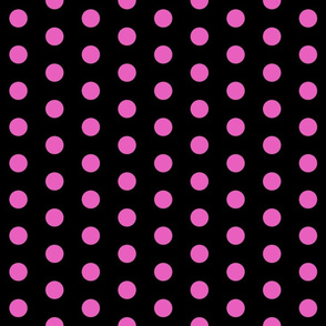 Polka Dots - 1 inch (2.54cm) - Light Pink  (#e95fbe) on Black (#000000)