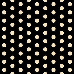 Polka Dots - 1 inch (2.54cm) - Cream (#f3e3c0) on Black (#000000)