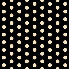 Polka Dots - 1 inch (2.54cm) - Cream (#f3e3c0) on Black (#000000)